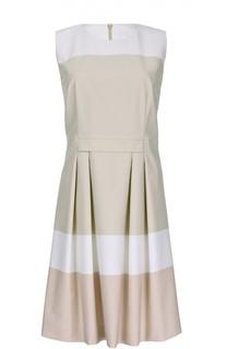 Приталенное платье без рукавов с защипами BOSS