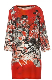 Шелковое платье с контрастным принтом и круглым вырезом Roberto Cavalli