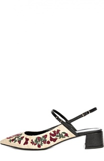 Кожаные туфли с вышивкой Erdem
