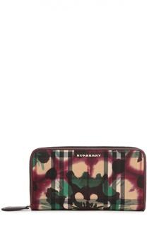 Портмоне Elmore в клетку с цветочным градиентным рисунком Burberry