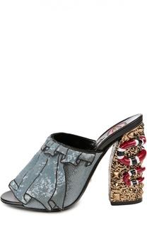 Сабо с пайетками на декорированном каблуке Gucci