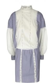Платье с воротником-стойкой и широкими рукавами Sacai