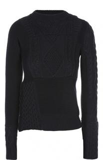 Хлопковый свитер фактурной вязки с удлиненным рукавом Sacai