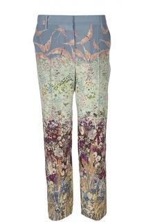Шелковые прямые брюки с цветочным принтом Valentino