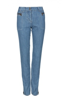 Прямые джинсы с завышенной талией и карманами на молниях Roberto Cavalli