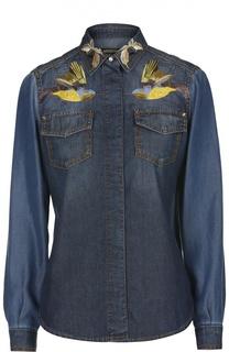 Джинсовая блуза с накладными карманами и вышивкой Roberto Cavalli