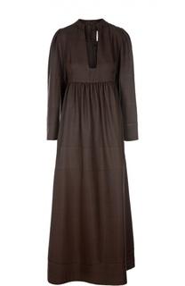 Платье в пол с завышенной талией и глубоким вырезом Valentino