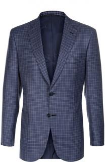 Пиджак в клетку из смеси шерсти и шелком со льном Brioni