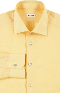 Рубашка  с воротником кент в мелкую клетку Kiton