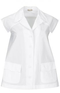 Блуза свободного кроя без рукавов с кружевной вставкой Alaia