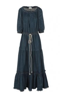 Джинсовое платье с необработанным краем и открытыми плечами Chloé
