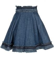 Джинсовая мини-юбка с декоративной отделкой Alexander McQueen