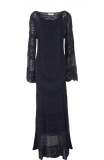 Вязаное платье в пол с расклешенными рукавами Chloé