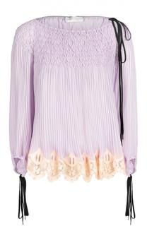 Плиссированная блуза с вырезом-лодочка и шнуровкой Chloé