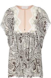 Асимметричная блуза свободного кроя с контрастным принтом Chloé