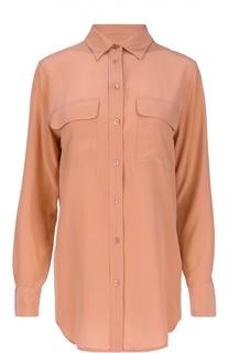 Шелковая блуза прямого кроя с накладными карманами Equipment