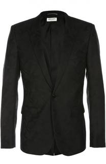 Шерстяной пиджак с камуфляжным принтом Saint Laurent
