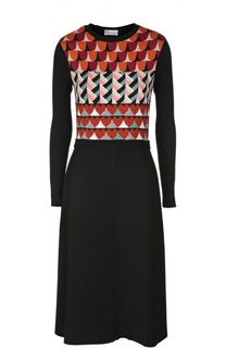 Приталенное платье с ярким принтом и длинным рукавом REDVALENTINO