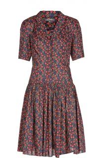 Приталенное платье-рубашка с ярким принтом Zac Posen