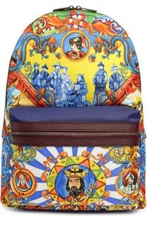 Рюкзак с принтом и внешним карманом Dolce & Gabbana