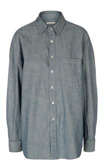 Удлиненная блуза свободного кроя с накладным карманом 6397