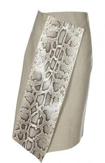 Юбка асимметричного кроя с отделкой из кожи питона Erika Cavallini