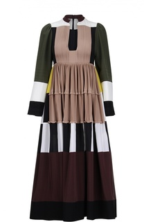 Шелковое платье в пол с завышенной талией и глубоким вырезом Valentino