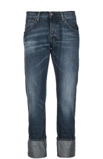 Прямые джинсы с потертостями и отворотами 2 Men Jeans