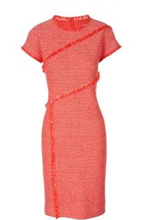 Приталенное платье в клетку с бахромой St. John