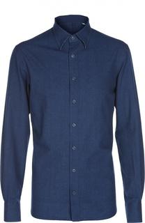 Хлопковая приталенная рубашка с воротником кент Andrea Campagna