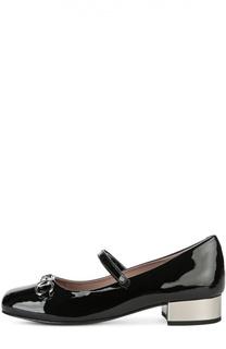 Лаковые туфли с пряжкой-трензелем на низком каблуке Gucci
