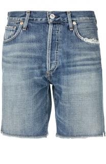 Джинсовые шорты с потертостями и бахромой Citizens Of Humanity