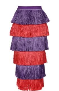Многоярусная юбка-миди с контрастной бахромой Stella Jean