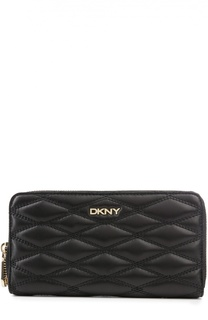 Кожаное портмоне на молнии с прострочкой DKNY
