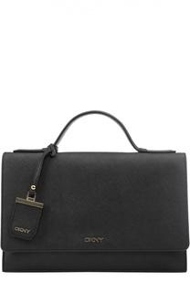 Кожаная сумка-портфель с клапаном и логотипом бренда DKNY