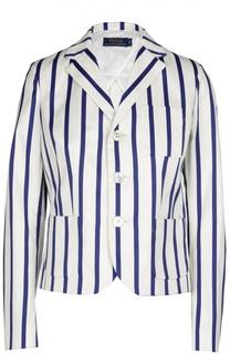Укороченный жакет в контрастную полоску с накладными карманами Polo Ralph Lauren