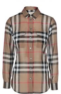 Блуза свободного кроя в клетку с накладными карманами Burberry Brit
