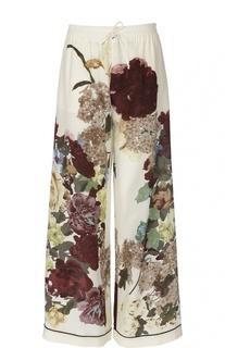 Шелковые брюки в пижамном стиле с цветочным принтом Valentino
