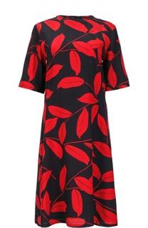 Шелковое приталенное платье с контрастным принтом Marni