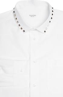 Хлопковая сорочка с металлическими шипами Valentino
