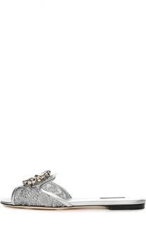 Кружевные шлепанцы Bianca с брошью Dolce & Gabbana