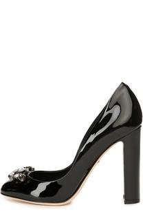 Лаковые туфли Vally с брошью Dolce & Gabbana