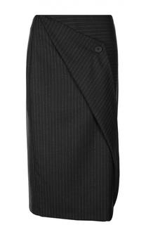 Юбка-миди в полоску асимметричного кроя DKNY