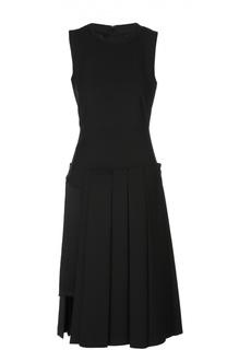 Приталенное платье с юбкой в складку и круглым вырезом DKNY