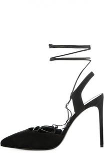 Замшевые туфли Paris Skinny на шнуровке Saint Laurent