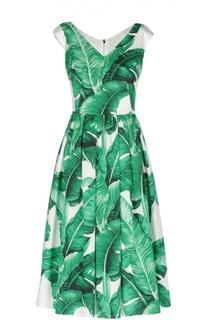 Приталенное платье с юбкой в складку и V-образным вырезом Dolce & Gabbana