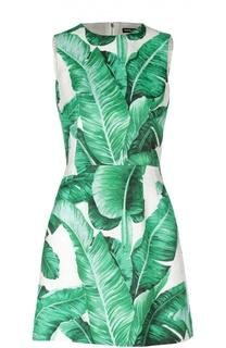 Приталенное мини-платье без рукавов с цветочным принтом Dolce & Gabbana