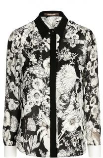 Шелковая блуза с контрастным принтом Roberto Cavalli