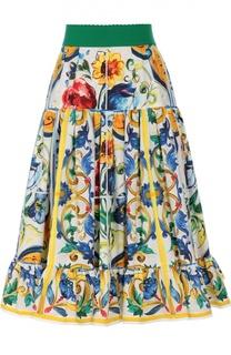 Юбка-миди А-силуэта с ярким принтом и широким поясом Dolce & Gabbana