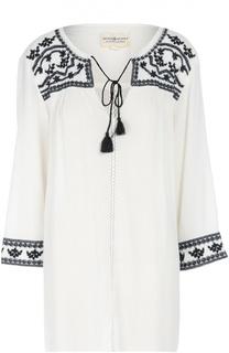 Хлопковая удлиненная блуза с вышивкой и кистями Denim&Supply by Ralph Lauren